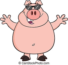 Happy Pig With Sunglasses And Open Arms For Hugging...