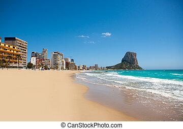 Calpe Alicante Arenal Bol beach with Penon de Ifach mountain...
