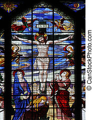 Crucifixion, Jesus on the cross, stained glass window