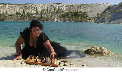 Chess on a shore
