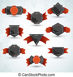 Labels vector set, modern style. Abstract black design...