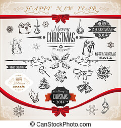 Vintage set of Christmas icons and symbols. Vector illustration.