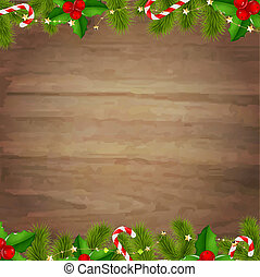 Border Fir Tree Branches With Wooden Background