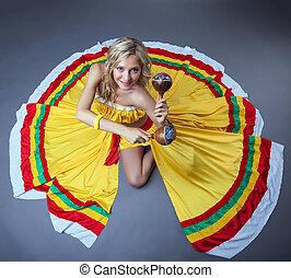 alegre, mexicano, baile, artista, Posar, maracas