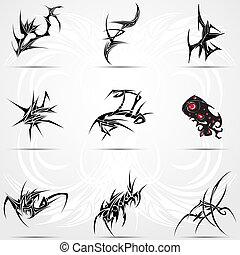 9, tatuaże, plemienny, komplet, Chłodny