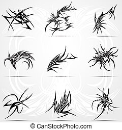 Abstract tattoo tribal set. Vector illustration for tattoo...