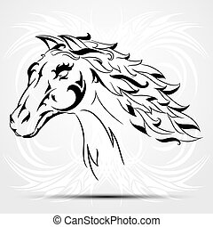 Vector image of an horse on white background. Tribal tattoo.