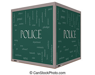 Police Word Cloud Concept on a 3D cube Blackboard with great...