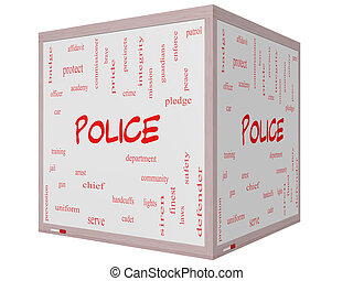 Police Word Cloud Concept on a 3D cube Whiteboard with great...