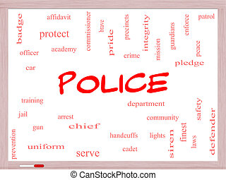 Police Word Cloud Concept on a Whiteboard with great terms...