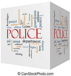 Police 3D cube Word Cloud Concept with great terms such as...