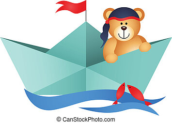 Teddy Bear Pirate in a Boat