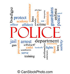 Police Word Cloud Concept with great terms such as protect,...