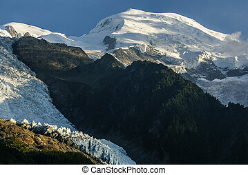 Panoramic view of Mont Blanc Massif. Bossons Glacier in the French Alps. France