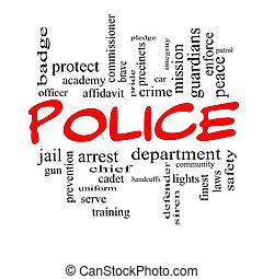 Police Word Cloud Concept in red caps with great terms such...