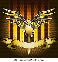 Eagle shield - The shield with eagle, sword and banner...