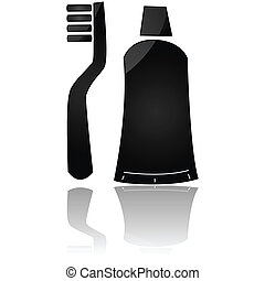 Toothbrush and toothpaste - Glossy icon of a toothbrush and...