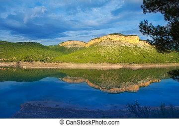 Embalse Arenos in Puebla de Arenoso Castellon Mijares river...