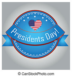 president day - a colored icon with a heart and stars for...