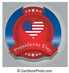 president day - a colored round icon with an american heart...