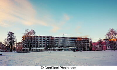 Cityscape with City hall in winter twilight, Petrozavodsk -...