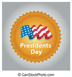 president day - a colored yellow icon with an american flag...