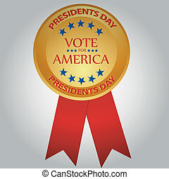 president day - a golden medal with some red text and blue...