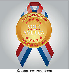 president day - a golden medal with a colored ribbon and...