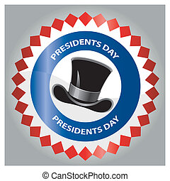 president day - a colored icon with text and a black hat for...