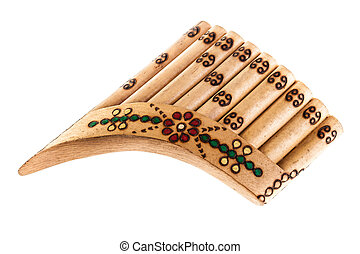 Ornated pan flute - a wooden pan flute isolated over a white...