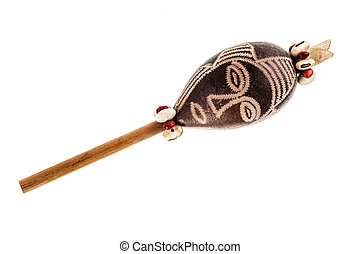Shaman rattle - an african shaman rattle isolated over a...