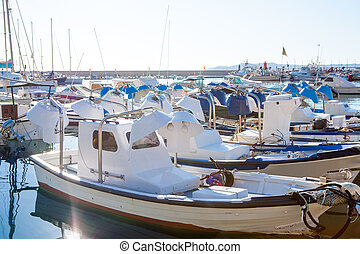 Javea in alicante fisherboats in Mediterranean sea of Spain