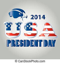 president day - a textured text with a blue silhouette of an...