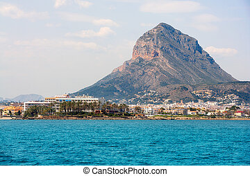 Javea Xabia port marina with Mongo mountain in Alicante...