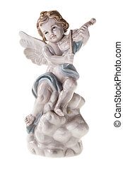 Angel - porcelain statuette of a cute angel playing the...