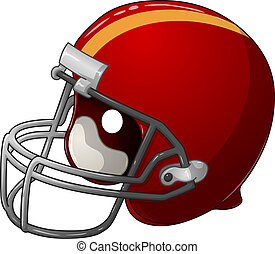 Red Football Helmet - A vector illustration of a red...