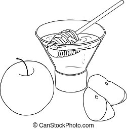 Rosh Hashanah Honey With Apples Coloring Page - Vector...