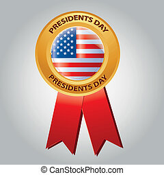 president day - a colored medal with the american flag and...