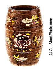 Ornated barrel - a decorated barrel from Romania isolated on...