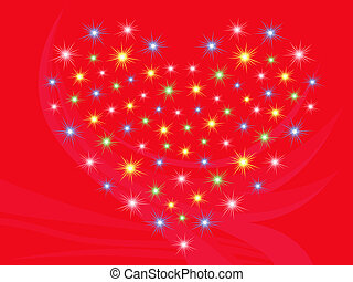 Heart with stars on red background