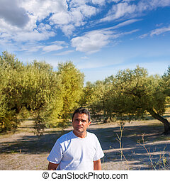 latin farmer in Mediterranean Olive tree field
