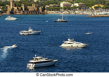 View of Harbor and marina with moored yachts and motorboats...