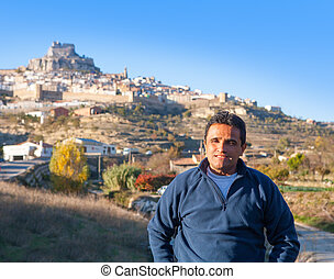 Latin tourist in spain at Morella in Valencian community -...