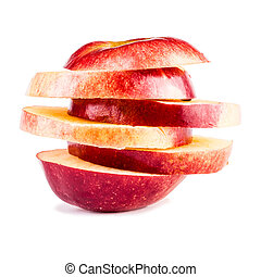 Sliced apple - a sliced apple isolated over a white...