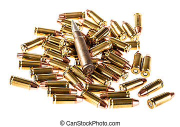 Heap of bullets - a heap of 9mm pistol bullets isolated over...
