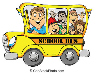 School Bus with Kids - Vector Illustration of a School Bus...