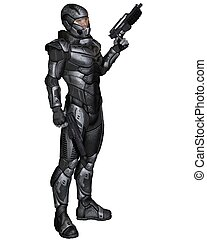 Science Fiction Soldier - Standing - Futuristic science...
