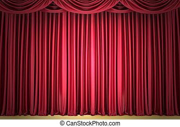 Red curtain, lit by a spotlight