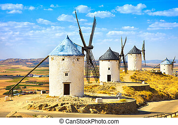 Windmills of Don Quixote in Consuegra Castile La Mancha,...