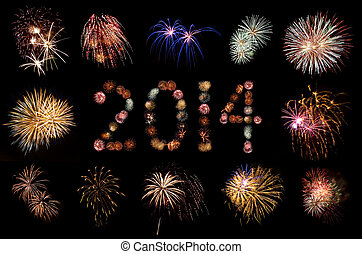 Bright Fireworks Framing a Black Space for Copy Text -...